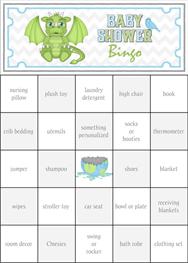 Dragon Baby Shower Bingo