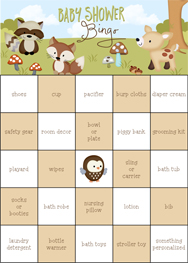 Friends of the Forest Baby Shower Bingo