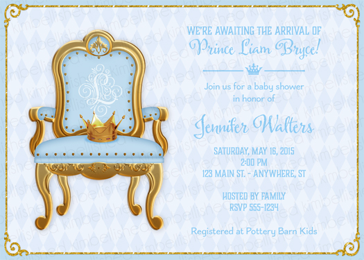 royal prince baby shower invitation by kimbellished